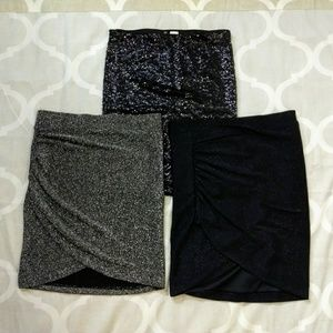 Lot of 3 H&M mini bodycon skirts sequin XS